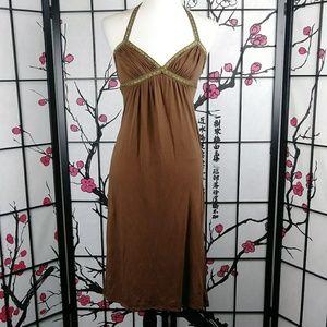 Vtg Betsey Johnson Goddess Boho Midi Halter Dress